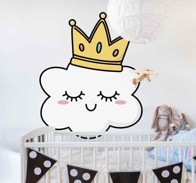 TENSTICKERS. 戴冠雲イラスト壁アートデカール. 子供の寝室を装飾するための実例となるウォールアートデカール。王冠をかぶった面白い絵文字顔のクラウドデザインです。