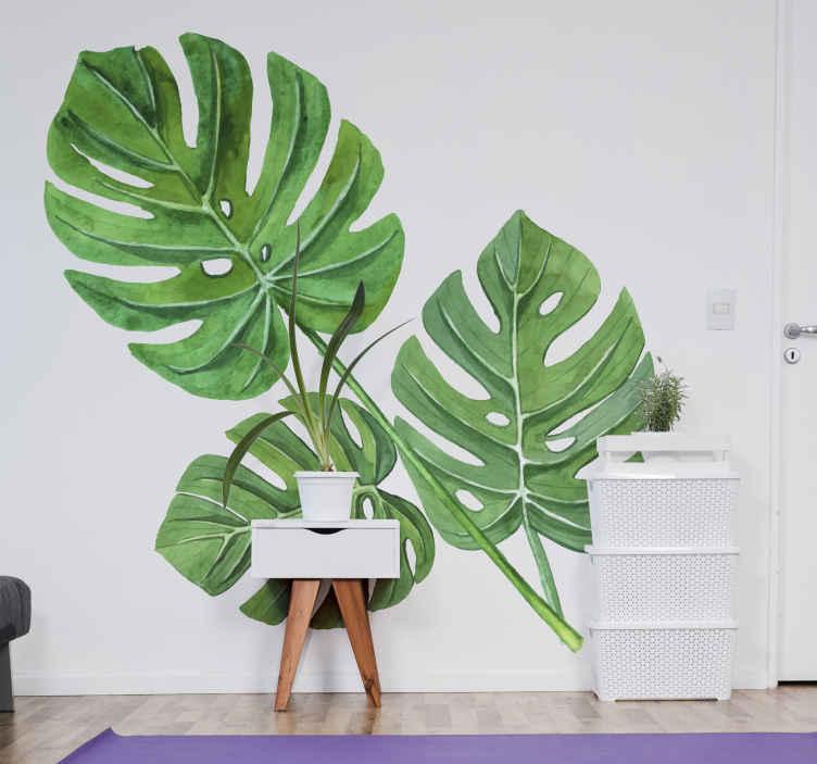 TenStickers. Wandtattoo Ranke Pflanze Monstera Aquarell Blätter. Ein Monstera Pflanzen Wandtattoo für jeden Raum Ihrer Wahl. Es ist in heller und frisch aussehender grüner Farbe geschaffen. Es ist in jeder Größe erhältlich.