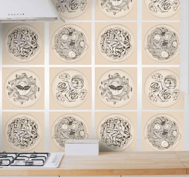 TenVinilo. Vinilos para azulejos placas ornamentales. Vinilos para azulejos para una cocina con el diseño de diferentes platos de comida, es fácil de aplicar. Alta calidad ¡Envío a domicilio!