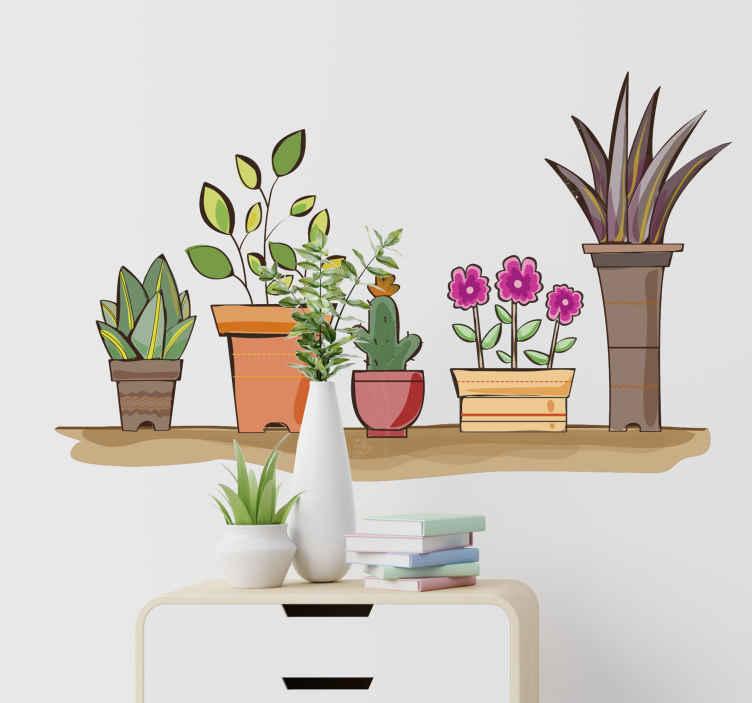 TENSTICKERS. 植物の花の壁のステッカーが付いている水彩画の棚. 棚の上にフラワーセットの形で設計された家庭用およびオフィス用の装飾的なフラワーウォールステッカー。必要なサイズでご利用いただけます。