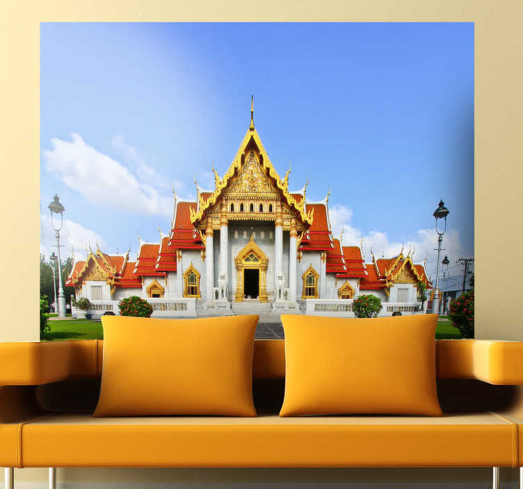 TenStickers. Benchamabophit Wall Mural. Photo Mural - A shot of Wat Benchamabophit Dusitvanaramm, Buddhist temple, in the Dusit district of Bangkok.