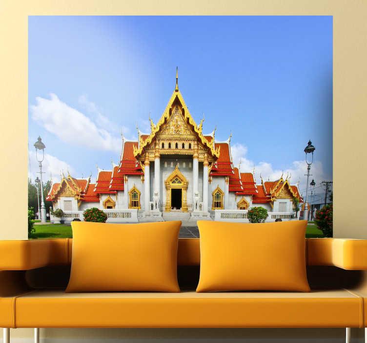 TenStickers. Vinil decorativo do Benchamabophit. Tenha nas suas paredes a paisagem do templo Wat Benchamabophit, um dos mais conhecidos templos da Tailândia, graças a este autocolante parede.