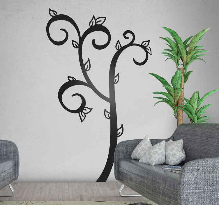 TENSTICKERS. シンプルな葉の木の壁のステッカー. 家のスペースを美しくするシンプルなツリーウォールアートステッカー。デザインはシンプルですが驚くべきものであり、適用されるスペースを補完します。