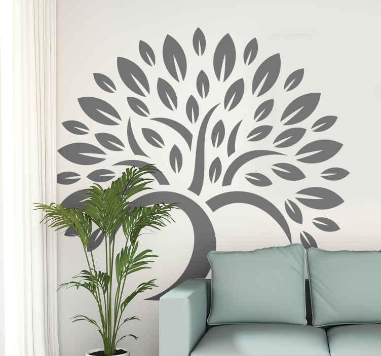 TENSTICKERS. ツリーシンプルな小葉ツリーウォールデカール. 家の装飾のための木の壁アートステッカー。さまざまなサイズと色のオプションが用意されています。適用が簡単で自己接着性。