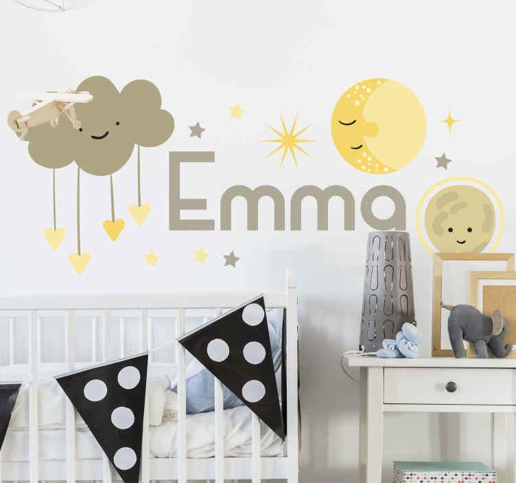 TenVinilo. Vinilo infantil estrellas y sol con nombre . Vinilos infantiles de estrellas y nubes con caras felices para decorar la habitación de los niños. Elige el nombre y tamaño ¡Envío a domicilio!