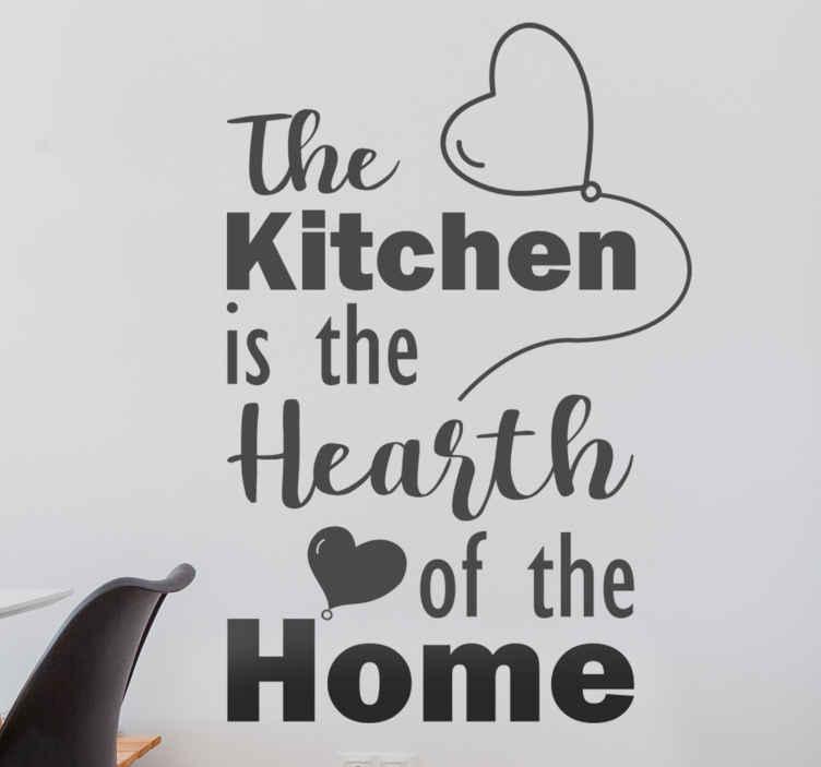 TENSTICKERS. キッチンはホームテキストの中心のステッカー. 装飾用のキッチンウォールアートステッカーで、キッチンの人気の格言でそのキッチンスペースを美しくします。 「キッチンは家の中心です」と書いてあります。
