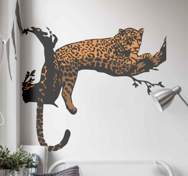 TenStickers. Tiger laying on tree wild animal sticker. Tiger laying on tree wild animal decal  to decorate any space of choice. We have it in any  customisable size required and it application is easy.