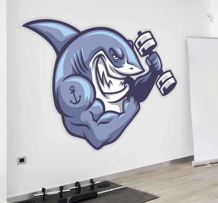 TENSTICKERS. 巨大なサメの魚壁デカール. あなたの家やオフィススペースの装飾のための巨大なサメの魚の壁アートステッカーデザイン。適用は簡単で、さまざまなサイズのオプションで利用できます。