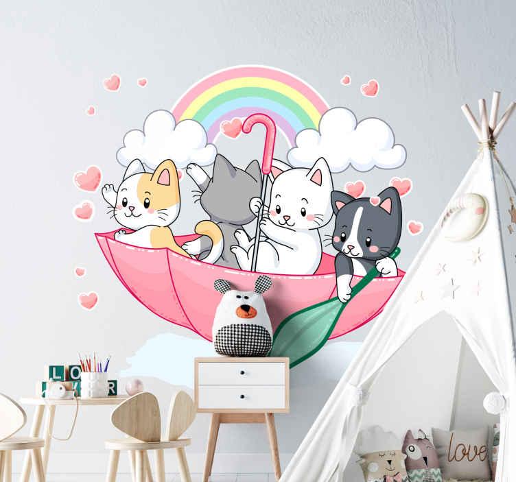 TENSTICKERS. 子猫と傘のイラストウォールアート. 傘やその他の空間要素を持つ子猫の装飾的な子供の壁ステッカーデザイン。必要なサイズでご利用いただけます。
