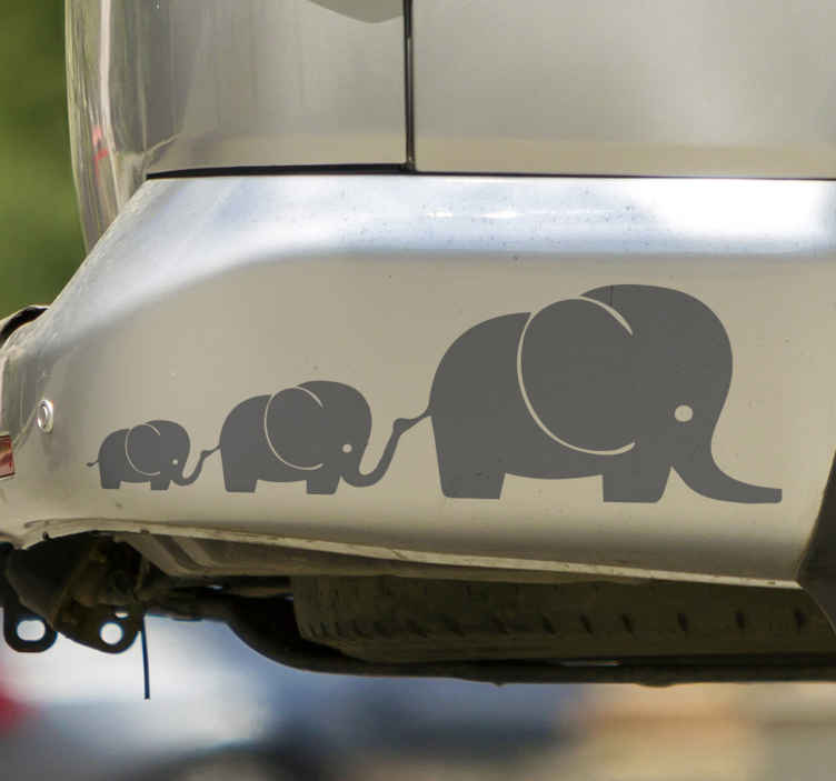 TenStickers. Cute elephants Car Decal. A decorative elephant animal sticker to decorate a vehicle space with the touch of wild life. The product is customisable in different color options.