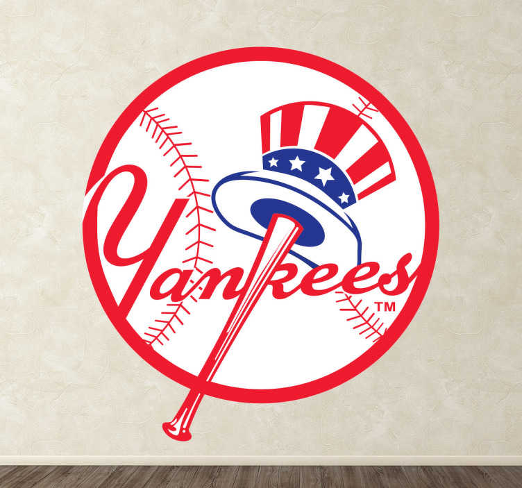 """TenVinilo. Adhesivo escudo Yankees de baseball. Símbolo Adhesivo de """"Los Bombarderos del Bronx"""", conocido equipo de béisbol americano con sede en Nueva York. Para hinchas de este deporte."""