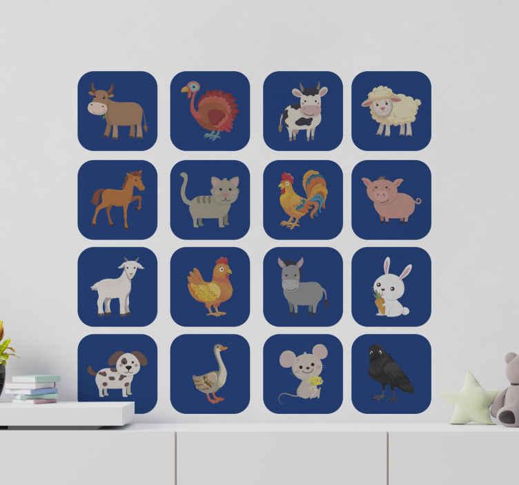 TenStickers. Stickers boerderijdieren Dieren. Illustratief dieren muursticker ontwerp van verschillende dieren die dierenboerderij afbeeldt is eenvoudig aan te brengen en is verkrijgbaar in verschillende maten.