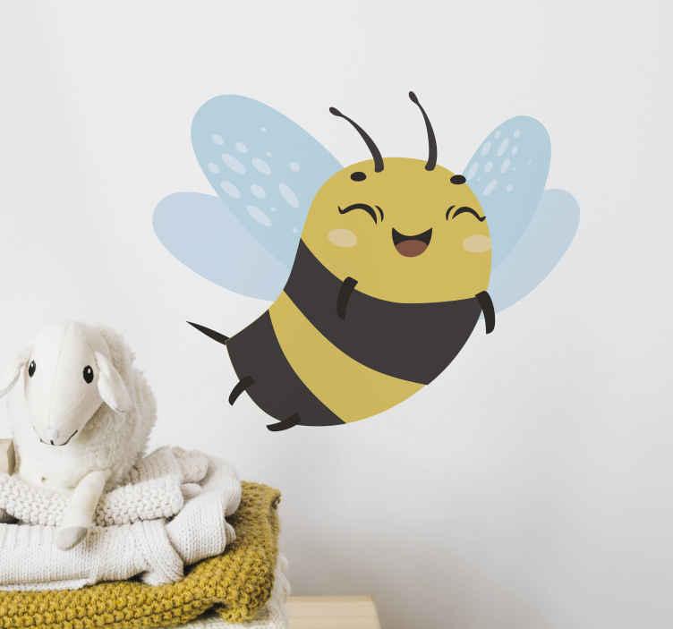 TENSTICKERS. ミツバチイラストウォールアートデカール. あなたの子供の寝室に幸せな絵文字顔で飛んでいるミツバチの感触を与えます。適用は簡単で、さまざまなサイズで利用できます。
