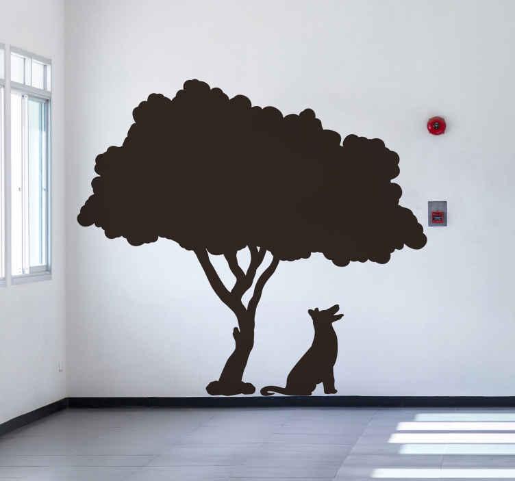 TENSTICKERS. 犬の木の壁のデカール. その下に犬がいる木の壁アートステッカーデザイン。このデザインはオリジナルで、特別な方法であらゆる空間を変形させるアートの外観を持っています。