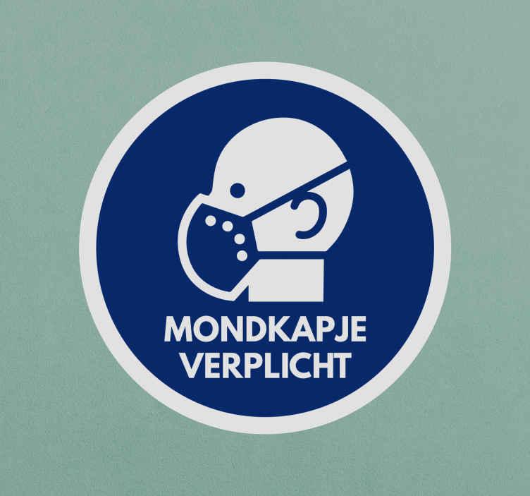 TenStickers. Aanwijzingen muurstickers Mondkapje verplicht. Een Covid mondkap verplicht sticker voor het gebruik van maskers aanbevolen voor alle openbare en commerciële plaatsen. Het is verkrijgbaar in verschillende maten en makkelijk aan te brengen.
