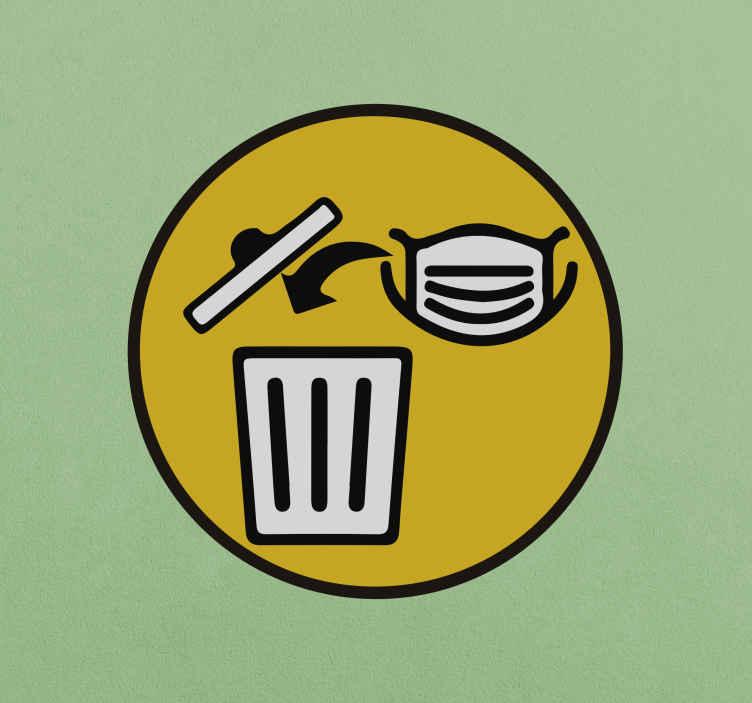 TenStickers. Vinis decorativos de sinalética variada Remover máscara facial. Um autocolante icónico de banner com um produtode ícone de máscara e eliminação de rosto em um fundo amarelo redondo. Está disponível em qualquer tamanho necessário.