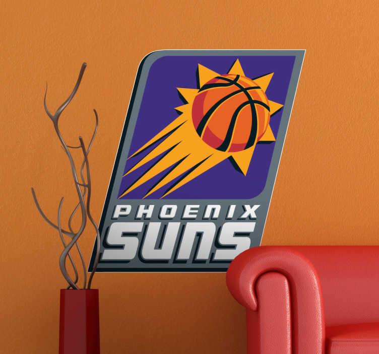 TenVinilo. Vinilo decorativo Phoenix Suns. Equipo profesional de baloncesto de la NBA. Adhesivo con el símbolo de este equipo representado por una pelota lanzada con gran fuerza a canasta. Para los amantes de este deporte.