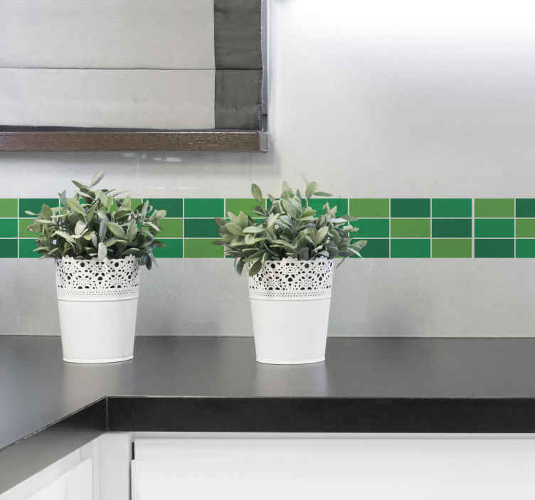 TENSTICKERS. 緑の効果ボーダーステッカー. 家や選択した場所の壁面に細かいフレームを作成するためのタイルボーダーステッカー。デザインは必要なサイズで利用できます。