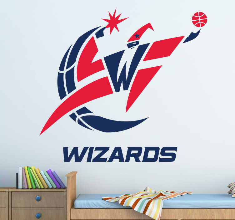 TenStickers. Sticker Washington Wizards basketbal team. Ben jij een grote Washington Wizards fan? Dan zal deze sticker van je favoriete basketbalteam super staan in je woning.