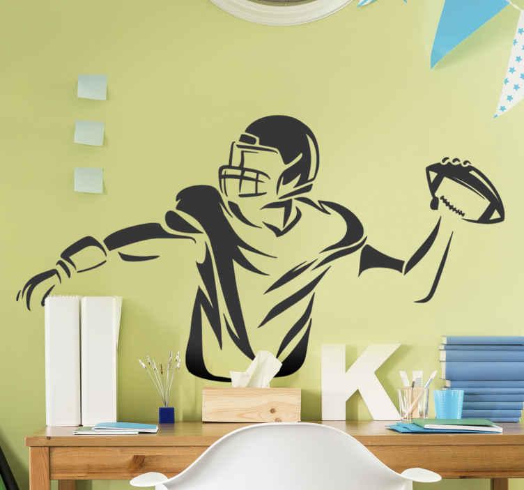 TenStickers. Sport muurstickers Amerikaanse voetbal speler . Een Amerikaanse voetbal speler muursticker decoratie voor een slaapkamer ruimte speciaal voor tieners. Het is aanpasbaar aan elke gewenste maat.