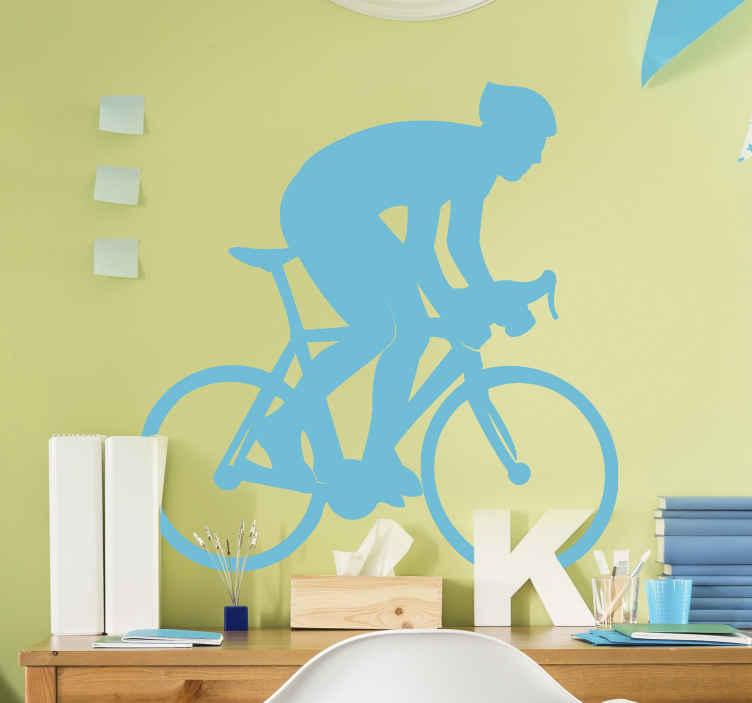 TenVinilo. Vinilo decorativo de bicicleta persona ciclista monocolor. Vinilo decorativo de ciclismo para los amantes del ciclismo. Hecho con un ciclista montado en una bicicleta ¡Envío a domicilio!
