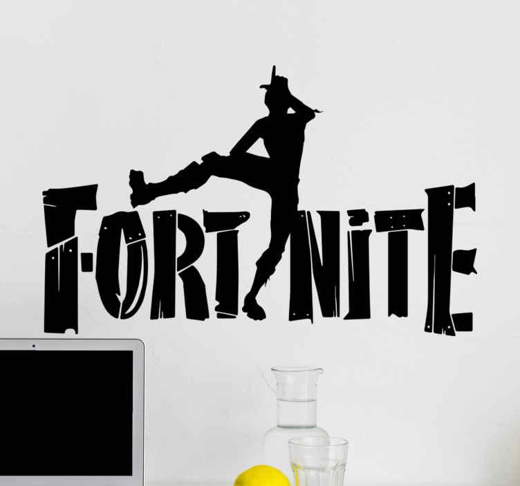 TenStickers. Muurstickers videospel Fortnite personage . Een fortnite videospel sticker met een persoonlijkheid en de tekst '' fortnite ''. Het is zelfklevend, gemakkelijk aan te brengen en aanpasbaar.