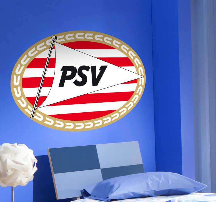 TenVinilo. Vinilo decorativo PSV Eindhoven. Escudo Adhesivo del club de fútbol neerlandés PSV, uno de los equipos más importantes en los Países Bajos. Para los amantes del deporte.