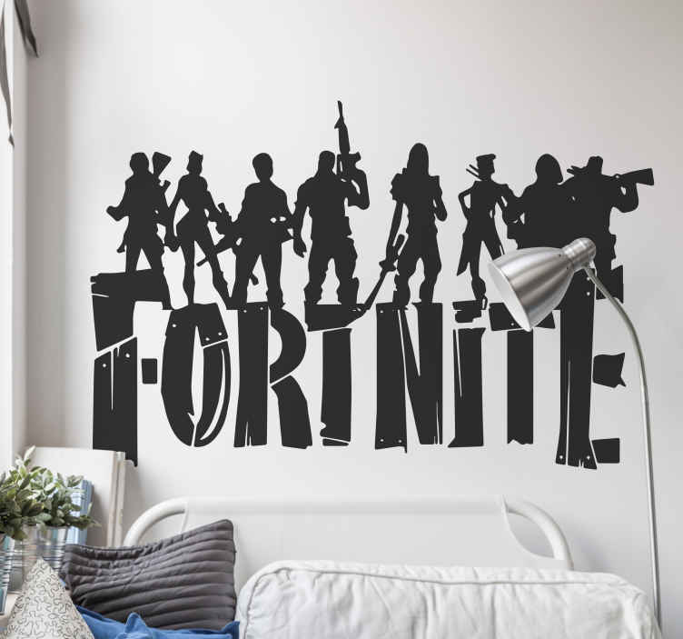 TenStickers. Fortnite with skins video game wall decal. Fornite game wall sticker with various personalities and the text '' fortnite''. The colour and size is customisable with various options.