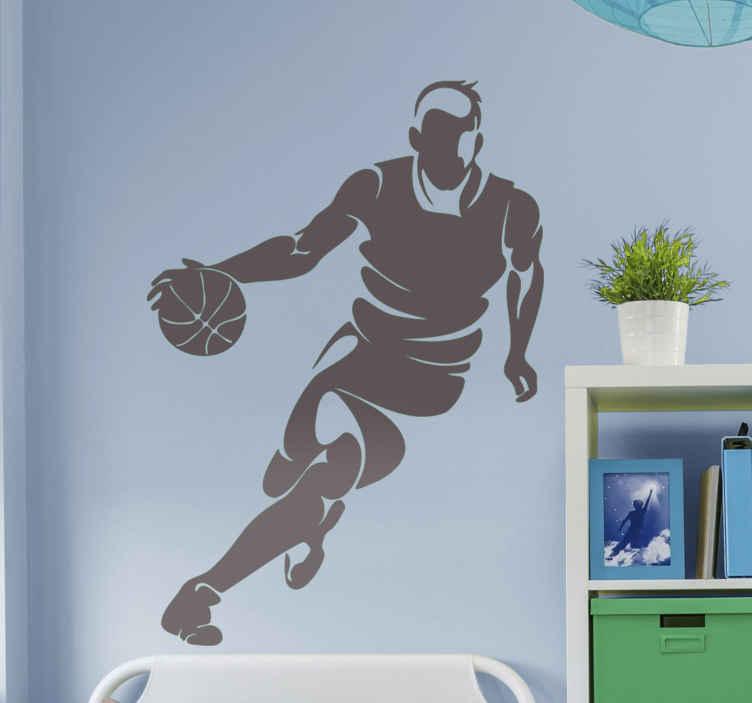 TENSTICKERS. プロバスケットボール選手バスケットボールウォールステッカー. 手にボールを持って走るプレーヤーが登場するバスケットボールプレーヤーのウォールステッカー。それはさまざまな色のオプションで利用可能です