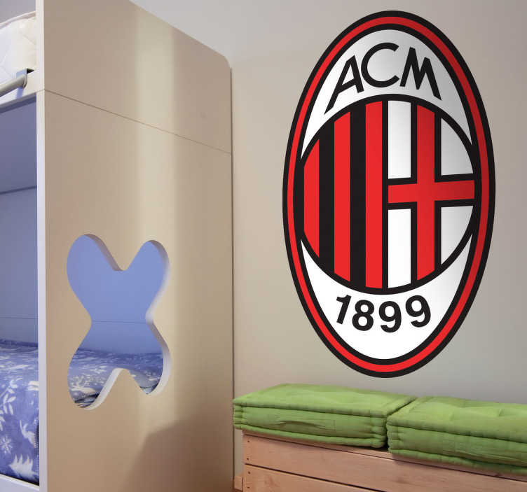 TenStickers. AC Milan logo sticker. Decoreer de kamers met deze AC Milan logo sticker en creëer een leuke voetbalsfeer in huis.