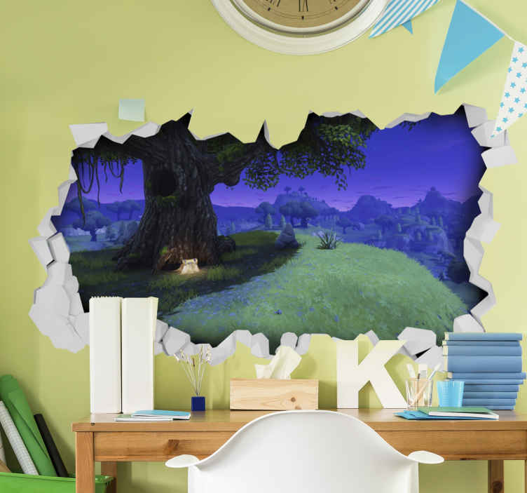 TenStickers. Fortnite landscape  wall mural decal. A delightful landscape of fortnight video game with an original visual effect appearance. It is easy to apply and made from high quality vinyl.
