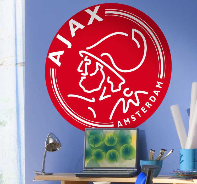 TenStickers. Muursticker Logo Ajax Amsterdam. Een mooie muursticker van het logo van Ajax. Maak de kamer af met deze Ajax wanddecoratie.