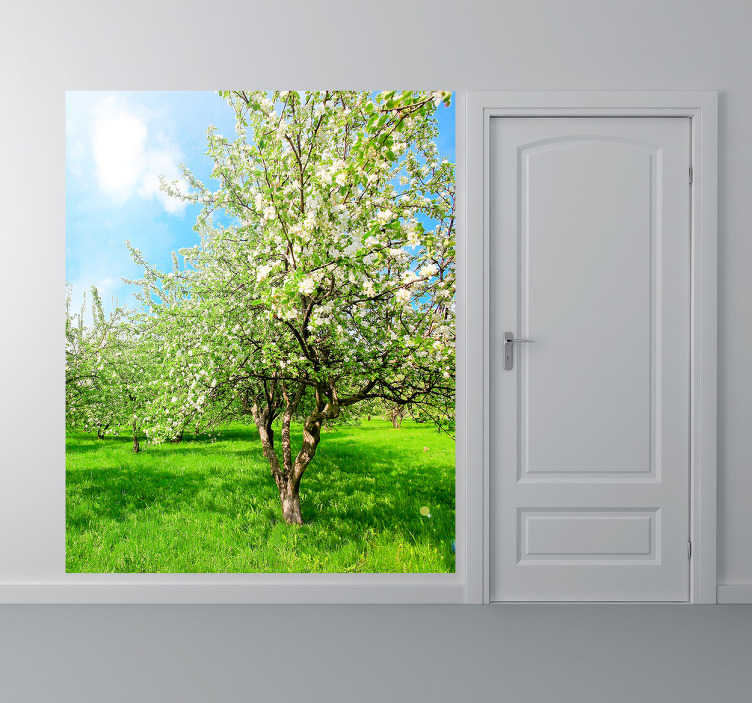 TenStickers. Apple Tree Wall Mural. Photo Murals - Original Tensticker illustration. Green nature apply tree, bright and vibrant shot.