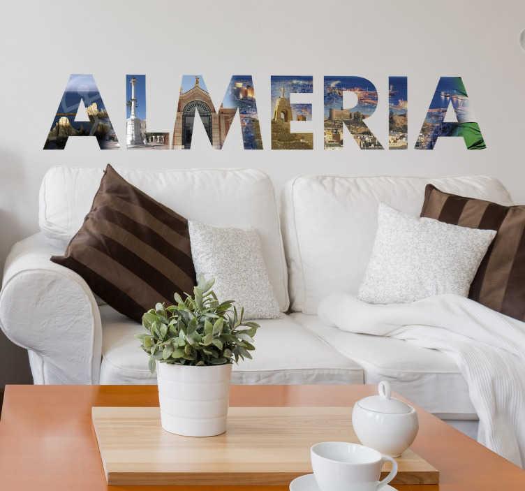 """TenVinilo. Vinilo decorativo Almería. Vinilo ciudad con la palabra """"Almería"""" y varios de sus lugares más emblemáticos formando el nombre de la urbe."""