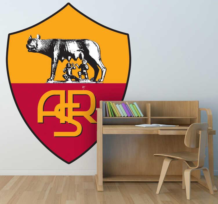 TenStickers. Naklejka dekoracyjna AS Roma. Naklejka dekoracyjna, która przedstawia herb włoskiej drużyny piłkarskiej AS Roma, z siedzibą w stolicy kraju, Rzymie.