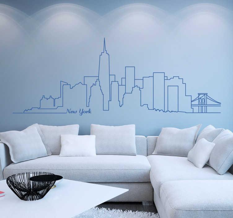 """TenStickers. Manhattan panoramă de perete autocolant. Uimitoare monocrom de perete autocolant de iconic manhattan orizont. Acest design prezintă conturul renumitului zgârie-nori din nyc și monumente precum clădirea statului imperiu și podul brooklyn cu cuvintele """"new york"""" scrise într-un font cursiv cool."""