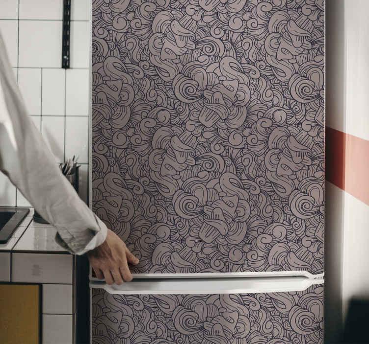 TENSTICKERS. 抽象的なペイズリー柄冷蔵庫ラップデカール. 高品質のビニールで作られたオリジナルの花柄の冷蔵庫デカールで、キッチンの冷蔵庫スペースやダイニングスペースを美しく。