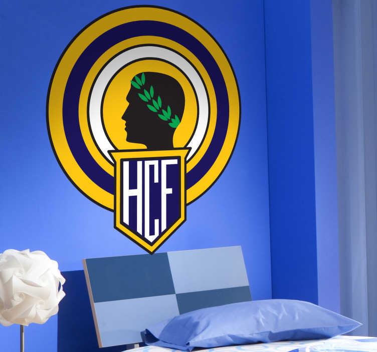 TenVinilo. Vinilo decorativo Hércules. Escudo Adhesivo del Hércules Club de Fútbol, de la ciudad de Alicante. Magnífico vinilo para los amantes del deporte.