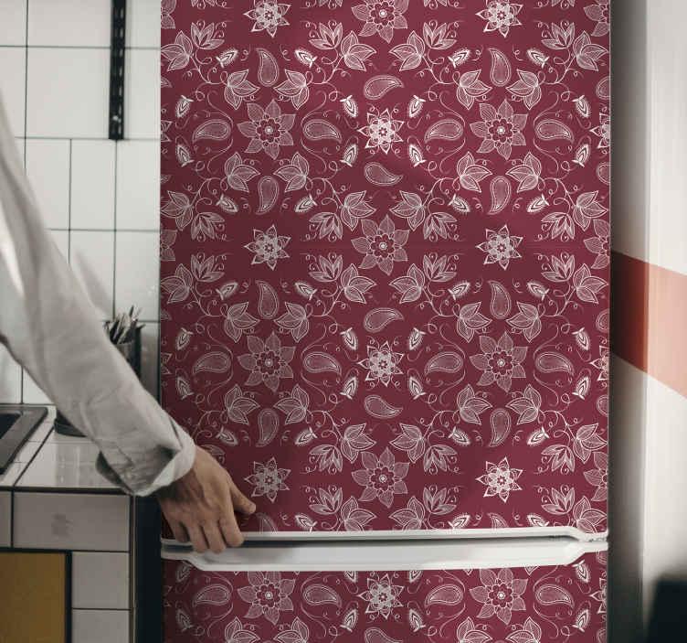 TENSTICKERS. 美しいペイズリー花冷蔵庫ラップデカール. 冷蔵庫のドアを飾るために美しいペイズリー花冷蔵庫ステッカー。適用は簡単で、必要な寸法で利用できます。