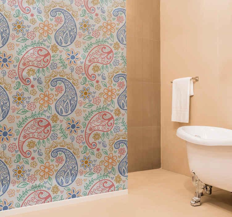 TENSTICKERS. カラフルなペイズリーシャワーデカール. ペイズリーデザインで作られた素晴らしいシャワースクリーンステッカーでバスルームのスペースを美しくしましょう。あらゆる次元にカスタマイズ可能です。