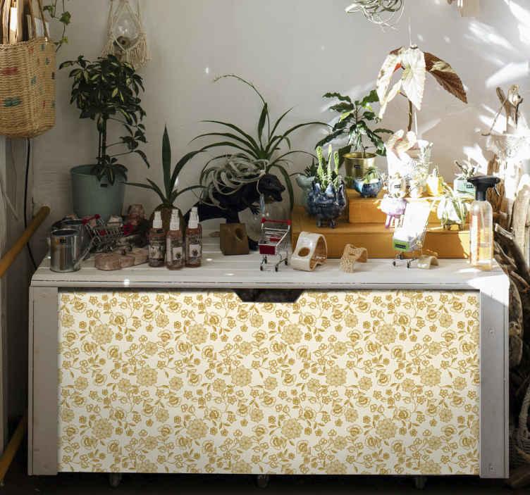 TenVinilo. Vinilo mueble de flores paisley. Hermoso papel adhesivo para muebles con diseño paisley sobre fondo amarillo para decorar cualquier tipo de mueble ¡Envío a domicilio!
