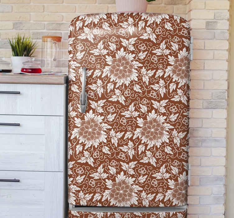 TENSTICKERS. 花ペイズリー柄冷蔵庫ラップ. 冷蔵庫のドアスペースを美しくするための冷蔵庫用の素晴らしいペイズリーフラワーデザイン。自己粘着性のある高品質のビニールで作られています。