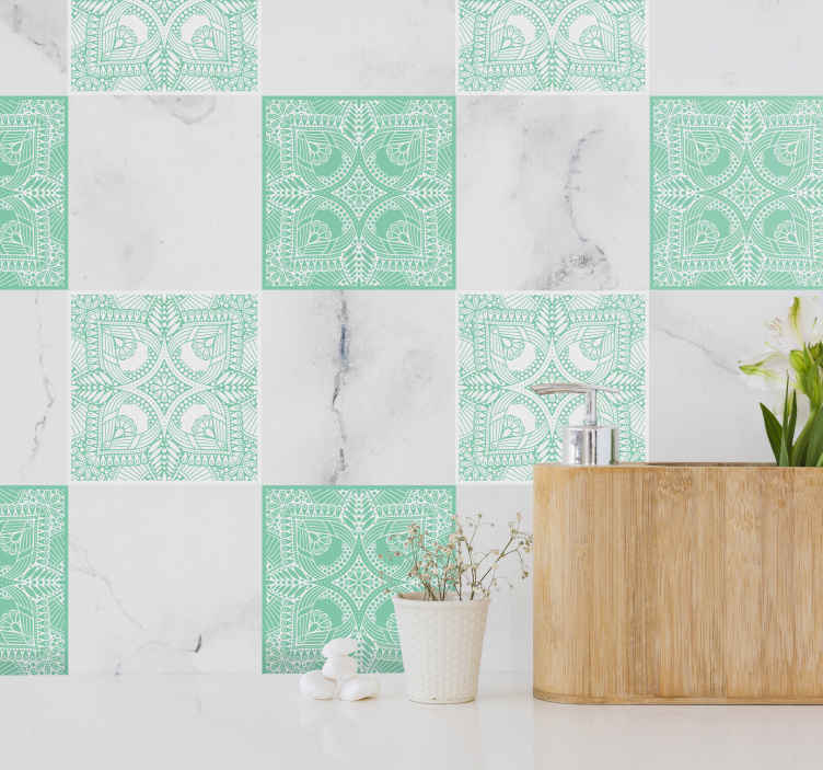 TenStickers. Ornamental draw tile transfer decal. Beautiful tile sticker for kitchen and bathroom space made with ornamental flower design in green colour. It is easy to apply.