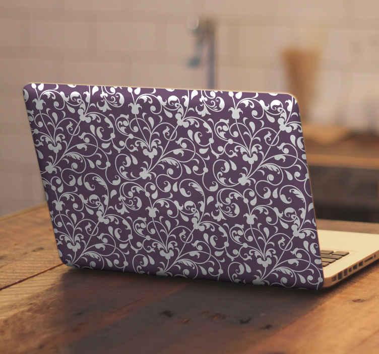 TENSTICKERS. 装飾用リーフペイズリーラップトップスキンデカール. 紫色の背景にペイズリーデザインが施されたクラシックな装飾用ラップトップデカール。ラップトップスペースに驚くほど新しい外観を与えます。