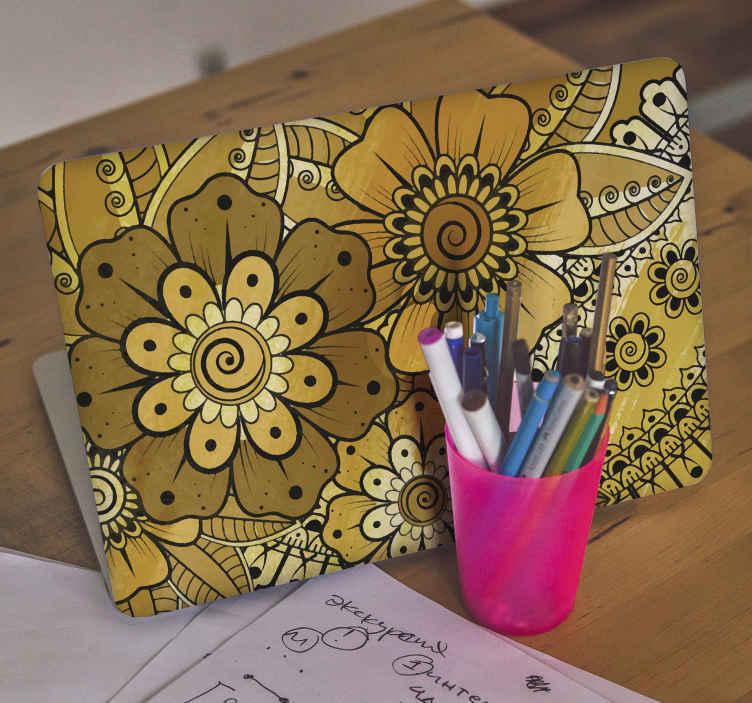 TenVinilo. Vinilo para laptop estilo indio paisley. Vinilo para laptop con diseño ornamental indio. Fácil de aplicar, autoadhesivo y hecho de alta calidad. Elige medidas ¡Envío a domicilio!