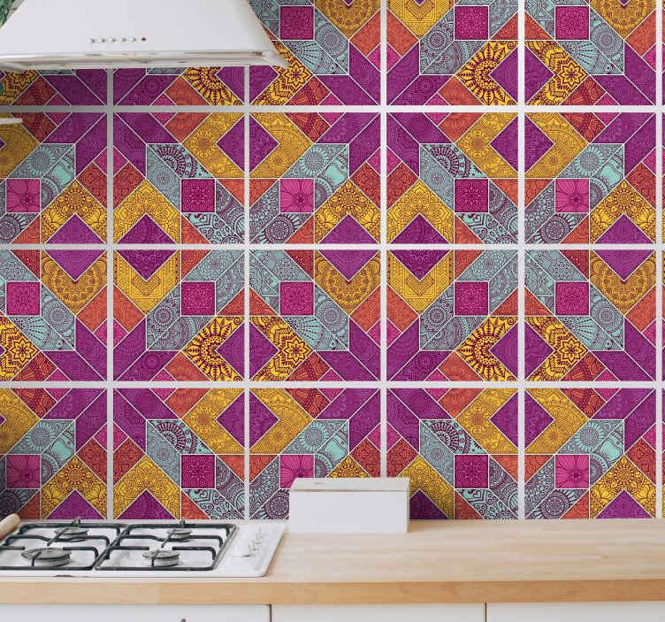 TENSTICKERS. ペイズリーモザイクタイル転写デカール. キッチンの装飾のための色とりどりのモザイクパターンの防水タイルステッカー。さまざまなサイズと簡単に適用できます。