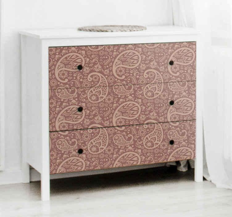 TENSTICKERS. ペイズリー柄の家具デカール. オリジナルの装飾用の美しい装飾家具のデカールで家具の顔を変えます。取り付けが簡単で、どのサイズでも利用できます。