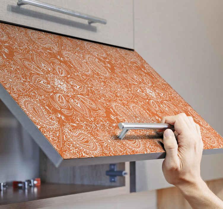 TENSTICKERS. ペイズリータイル家具デカール. オレンジ色の装飾的な装飾用のペイズリー家具デカールで、家具の表面を変身させます。適用は簡単です。