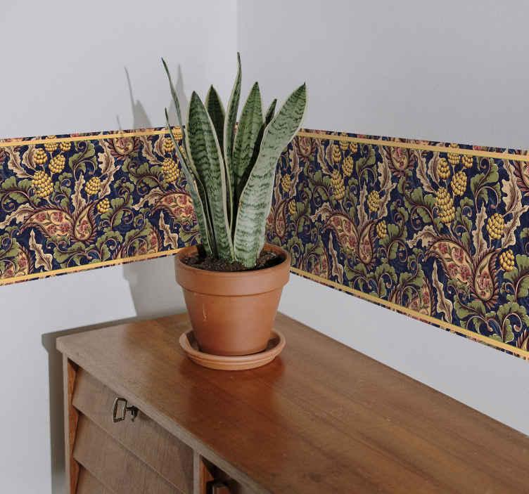 TenStickers. Realistische paisley illustratie decoratie muursticker. Versier de muur ruimte in huis of op kantoor met onze originele bloemenrand sticker. Eenvoudig aan te brengen en gemaakt van goede kwaliteit.
