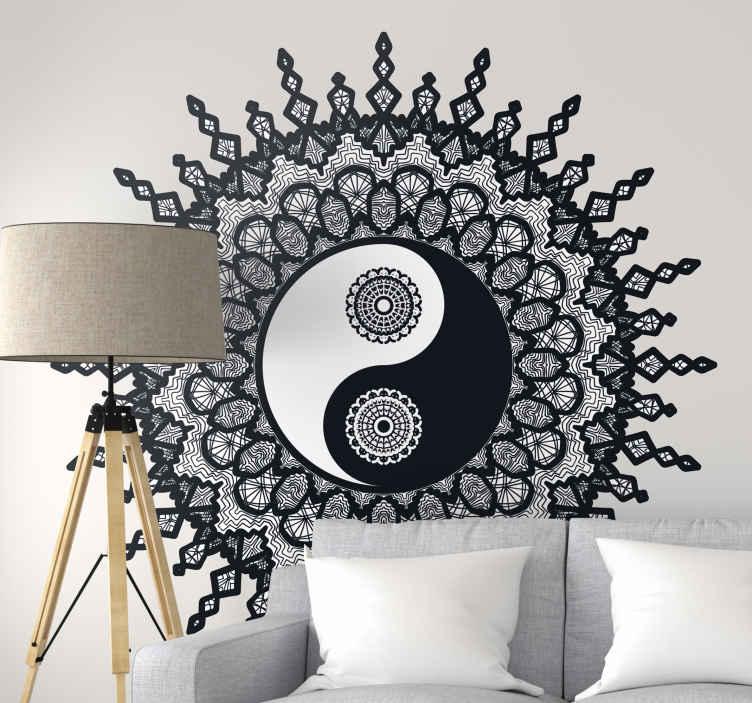 TENSTICKERS. 英陽ペイズリー壁デカール. あなたのスペースのための装飾的な家の壁のステッカー。それは陰陽パターンのペイズリー柄で作られています。必要なサイズで利用できます。